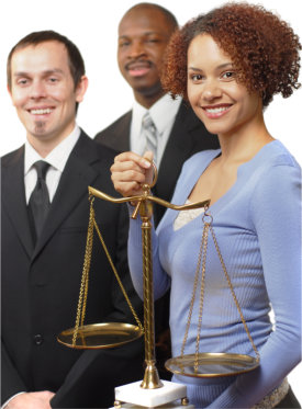 woman and lawyers